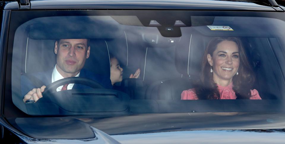 LONDON, UNITED KINGDOM - DECEMBER 19: (EMBARGOED FOR PUBLICATION IN UK NEWSPAPERS UNTIL 24 HOURS AFTER CREATE DATE AND TIME) Prince William, Duke of Cambridge, Catherine, Duchess of Cambridge and Princess Charlotte of Cambridge attend a Christmas lunch for members of the Royal Family hosted by Queen Elizabeth II at Buckingham Palace on December 19, 2018 in London, England. (Photo by Max Mumby/Indigo/Getty Images)