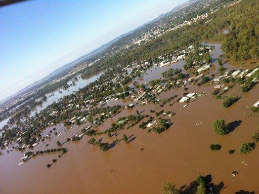 This photo provided by New South Wales Premier Barry O'Farrell shows floodwaters at North Wagga Wagga