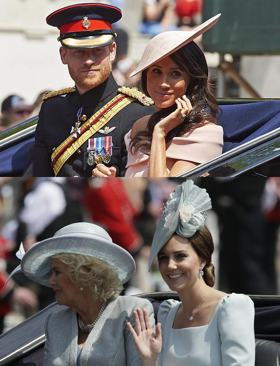 Last year Harry and Meghan, and Kate and Camilla opted for seperate arrivals. Photo: Getty Images