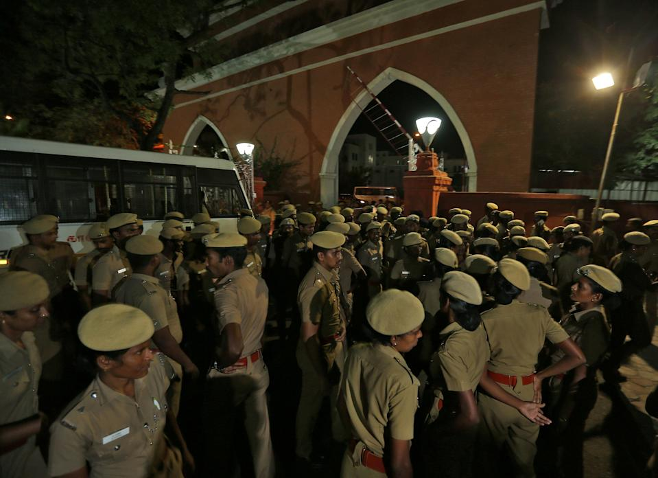 Police stand guard inside the high court premises in Chennai, India, July 17. Source: Reuters