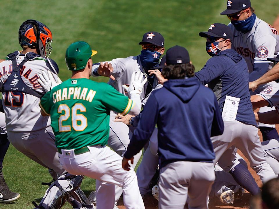 astros a's fight.JPG