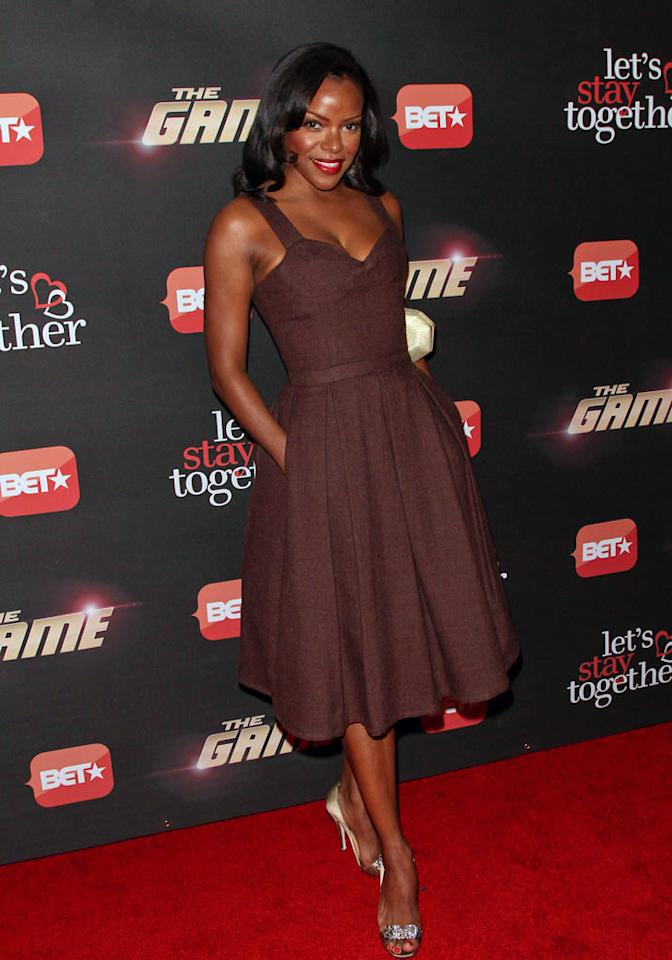 """Nadine Ellis arrives at BET's """"The Game"""" and """"Let's Stay Together"""" premiere party at the Hollywood Roosevelt Hotel on January 5, 2012 in Hollywood, California."""