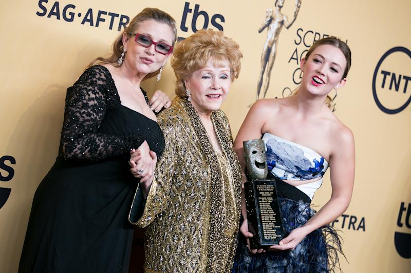 Todd Fisher, Debbie Reynolds, Carrie Fisher, Billie Lourd - 1/25/2015 - Los Angeles, CA - 21st Annual Screen Actors Guild Awards - Press Room held at The Shrine Auditorium, Los Angeles, CA. Photo Credit: John Salangsang/BFAnyc *** Please Use Credit from Credit Field ***