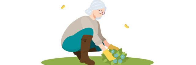 Illustration of an older woman with grey hair bending down to garden