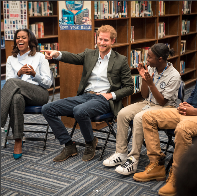 They surprised kids at at the Hyde Park Academy in the South Side of Chicago. Photo: Instagram/Christoper Dilts/The Obama Foundation