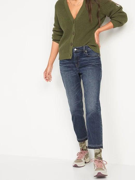 <p>We're loving the whiskering and cropped, frayed cuff on these <span>Old Navy Mid-Rise Boyfriend Straight Cut-Off Jeans</span> ($40).</p>