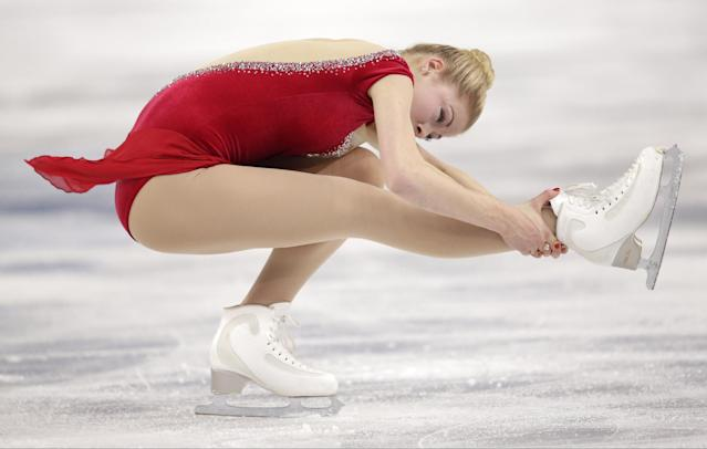 Gracie Gold of the United States competes in the women's short program figure skating competition at the Iceberg Skating Palace during the 2014 Winter Olympics, Wednesday, Feb. 19, 2014, in Sochi, Russia