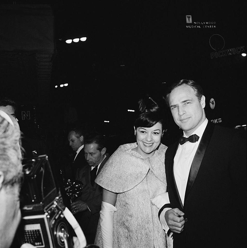 """<p>Actor Marlon Brando <a href=""""http://www.latimes.com/local/obituaries/la-me-movita-castaneda-20150217-story.html"""" rel=""""nofollow noopener"""" target=""""_blank"""" data-ylk=""""slk:wed Movita Castaneda"""" class=""""link rapid-noclick-resp"""">wed Movita Castaneda</a> in 1960 after they met in the 1950s. They starred in <em>Mutiny on the Bounty </em>together and had two children, Miko Castaneda Brando and Rebecca Brando. They parted ways in 1962. </p>"""