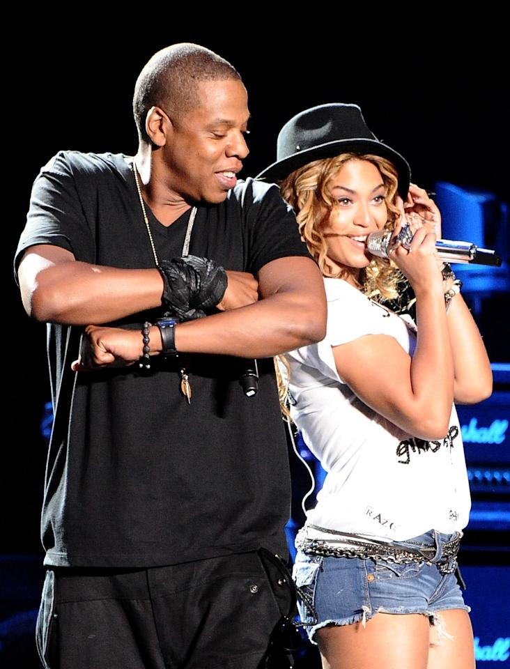 Rapper Jay-Z and singer Beyonce Knowles perform during day 1 of the Coachella Valley Music & Arts Festival 2010 held at The Empire Polo Club on April 16, 2010 in Indio, California. (Jeff Kravitz/Getty Images)