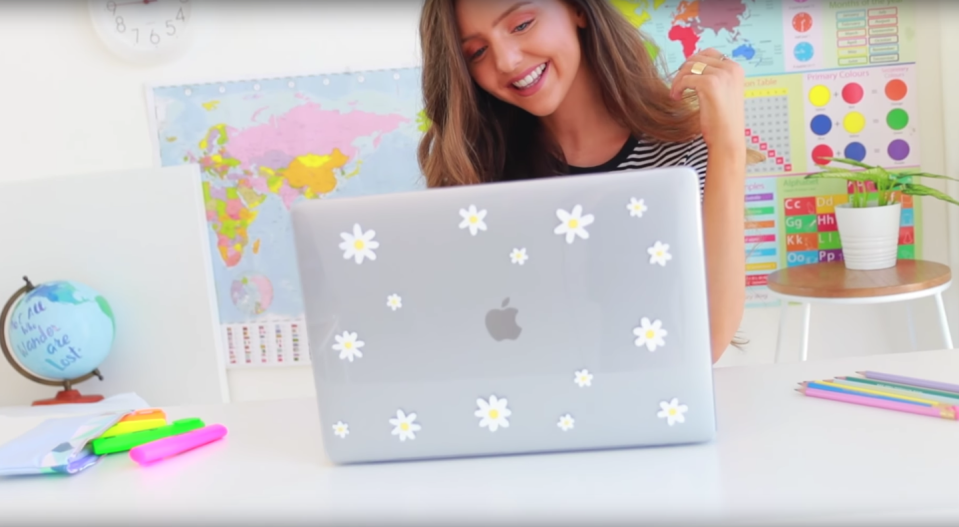 """<p>Can't justify the price of a fancy laptop cover? Then head to the craft store and make your own! </p><p><em><a href=""""https://www.youtube.com/watch?v=gRbiuX_5fCY"""" rel=""""nofollow noopener"""" target=""""_blank"""" data-ylk=""""slk:Get the tutorial on YouTube »"""" class=""""link rapid-noclick-resp"""">Get the tutorial on YouTube »</a></em> </p>"""