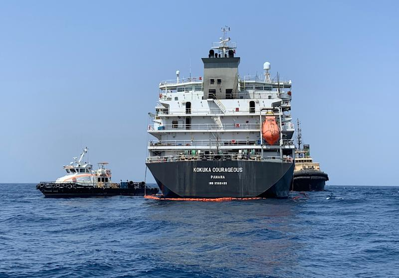 The Japanese-owned tanker Kokuka Courageous has been towed to the coast of the United Arab Emirates after being attacked in the Gulf of Oman last week (AFP Photo/Mumen KHATIB)