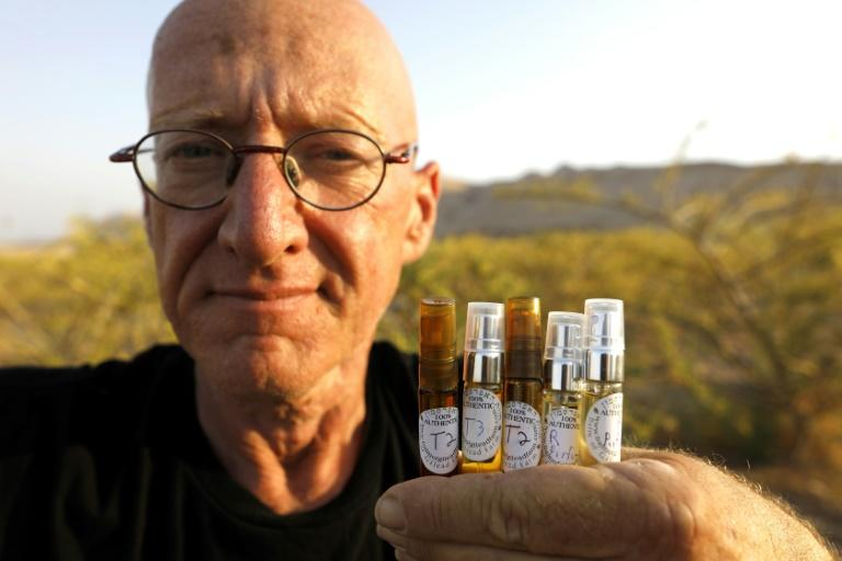 At his farm near the Dead Sea, Erlich cultivates around 60 biblical plants, from which he creates creams, perfumes, soap and honey (AFP Photo/MENAHEM KAHANA)