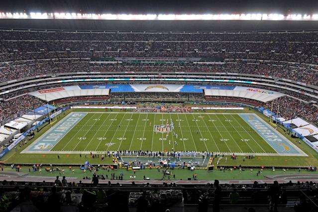 A year after turf problems forced a game to be moved, Estadio Azteca still doesn't look ready for NFL football. (Kirby Lee/USA Today)