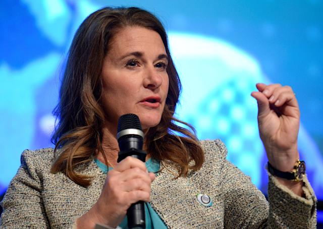 Co-Chair of the Bill & Melinda Gates Foundation Melinda Gates makes remarks during a panel discussion on investing in adolescents to improve nutrition, education, etc as part of the IMF and World Bank's 2017 Annual Spring Meetings, in Washington, U.S., April 20, 2017. REUTERS/Mike Theiler