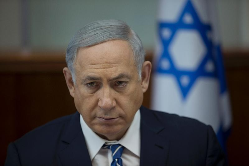 Israeli Prime Minister Benjamin Netanyahu at the weekly cabinet meeting in his Jerusalem office on March 27, 2016