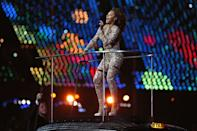 NOW: Melanie Brown of The Spice Girls performs during the Closing Ceremony on Day 16 of the London 2012 Olympic Games at Olympic Stadium on August 12, 2012 in London, England. (Photo by Hannah Johnston/Getty Images)