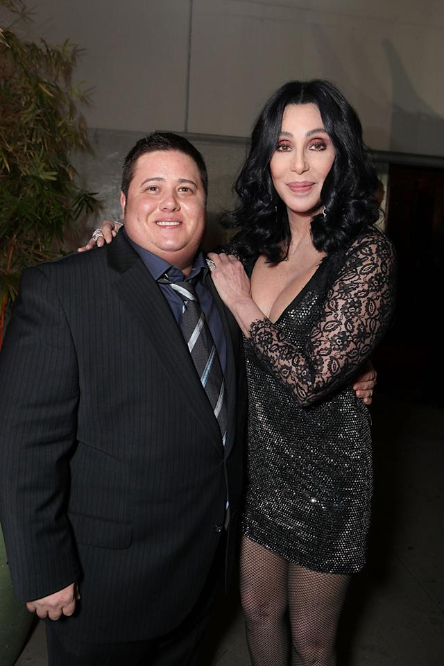 """Chaz Bono and <a href=""""http://movies.yahoo.com/movie/contributor/1800023318"""">Cher</a> at the Los Angeles premiere of <a href=""""http://movies.yahoo.com/movie/1810125282/info"""">Burlesque</a> on November 15, 2010."""
