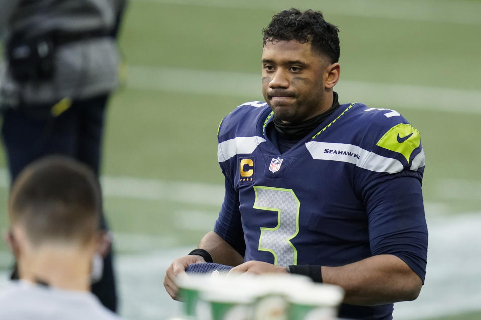 Seattle Seahawks quarterback Russell Wilson fell out of the MVP race in the second half of the season. (AP Photo/Elaine Thompson)