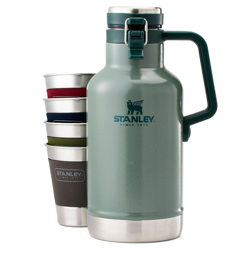 """<p><strong>Stanley</strong></p><p>huckberry.com</p><p><strong>$67.98</strong></p><p><a href=""""https://go.redirectingat.com?id=74968X1596630&url=https%3A%2F%2Fhuckberry.com%2Fstore%2Fstanley%2Fcategory%2Fp%2F60776-growler-gift-set&sref=https%3A%2F%2Fwww.esquire.com%2Flifestyle%2Fg19621074%2Fcool-fathers-day-gifts-ideas%2F"""" rel=""""nofollow noopener"""" target=""""_blank"""" data-ylk=""""slk:Buy"""" class=""""link rapid-noclick-resp"""">Buy</a></p><p>For the kind of dad who likes to bring his drinks (alcoholic or not) on the road, and who's cool enough to share 'em around.</p>"""