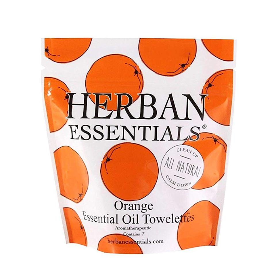 "<p><strong>Herban Essentials</strong></p><p>amazon.com</p><p><strong>$7.00</strong></p><p><a href=""https://www.amazon.com/dp/B0195MQRDC?tag=syn-yahoo-20&ascsubtag=%5Bartid%7C2089.g.829%5Bsrc%7Cyahoo-us"" rel=""nofollow noopener"" target=""_blank"" data-ylk=""slk:Shop Now"" class=""link rapid-noclick-resp"">Shop Now</a></p><p>Stash these individually-wrapped, portable scented wipes in your gym bag. In addition to acting as a natural antimicrobial, the orange essential oil used in these wipes also smells invigorating.</p>"
