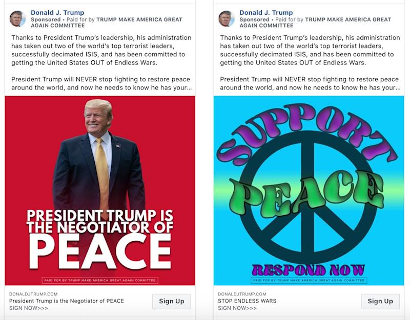 Trump campaign ads currently running on Facebook. (Photo: HuffPost US)
