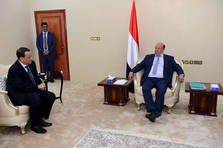 United Nations envoy to Yemen Ismail Ould Cheikh Ahmed meets with Yemen's President Abd-Rabbu Mansour Hadi in Yemen's southern port city of Aden
