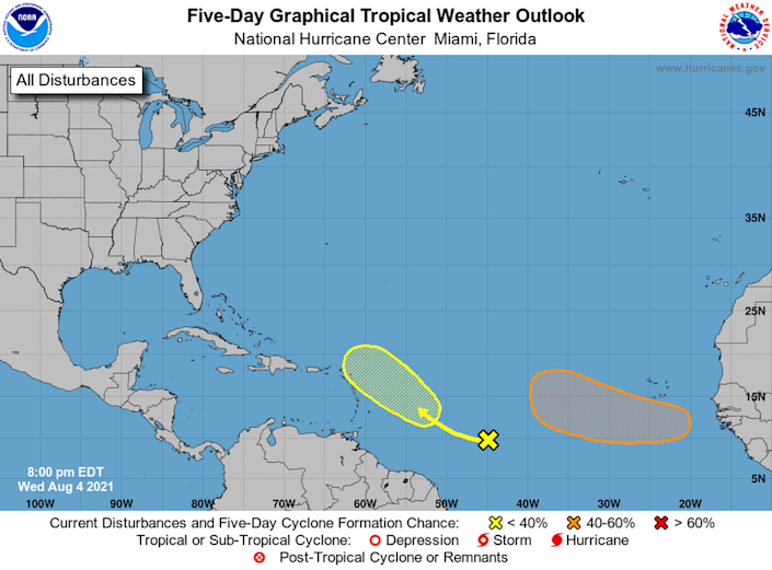 One of the three disturbances tracked by the National Hurricane Center has dissipated, leaving two with low to moderate chances of forming within the next five days.