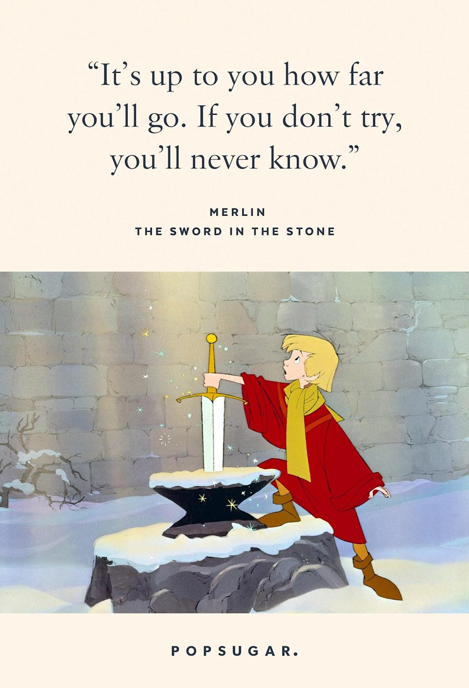 "<p>""It's up to you how far you'll go. If you don't try, you'll never know."" - Merlin, <b>The Sword in the Stone</b></p>"