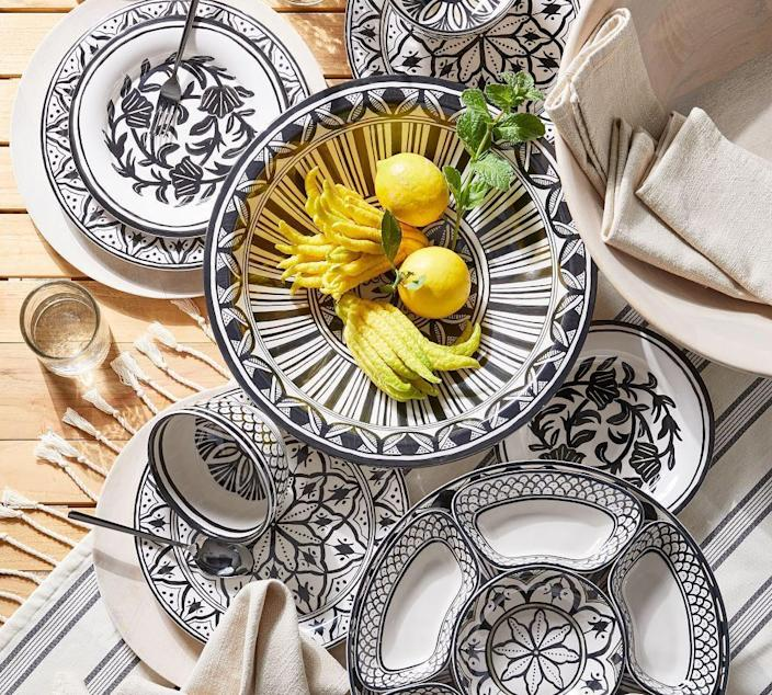 """<p><strong>$24.50</strong></p><p><a href=""""https://go.redirectingat.com?id=74968X1596630&url=https%3A%2F%2Fwww.potterybarn.com%2Fproducts%2Fmarrakesh-melamine-dinnerware-collection%2F%3Fpkey%3Dcmelamine&sref=https%3A%2F%2Fwww.veranda.com%2Foutdoor-garden%2Fg36385728%2Fbest-outdoor-dinnerware%2F"""" rel=""""nofollow noopener"""" target=""""_blank"""" data-ylk=""""slk:Shop Now"""" class=""""link rapid-noclick-resp"""">Shop Now</a></p><p>Traditional Moroccan designs displayed on melamine by <a href=""""https://www.potterybarn.com/"""" rel=""""nofollow noopener"""" target=""""_blank"""" data-ylk=""""slk:Pottery Barn"""" class=""""link rapid-noclick-resp"""">Pottery Barn</a> add an exotic flair to any backyard gathering.</p>"""