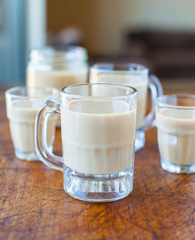 """<p>Make rich and creamy Bailey's Irish Cream with ingredients you probably already have on hand. If you buy milk bottles or mason jars, it makes for a great homemade holiday gift. </p><p><em>Get the recipe at <a href=""""https://www.averiecooks.com/homemade-baileys-irish-cream/"""" rel=""""nofollow noopener"""" target=""""_blank"""" data-ylk=""""slk:Averie Cooks"""" class=""""link rapid-noclick-resp"""">Averie Cooks</a>. </em></p>"""