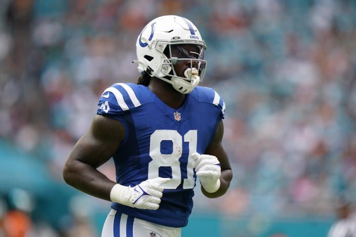 Indianapolis Colts tight end Mo Alie-Cox (81) runs on the field during the first half of an NFL football game against the Miami Dolphins, Sunday, Oct. 3, 2021, in Miami Gardens, Fla. (AP Photo/Lynne Sladky)