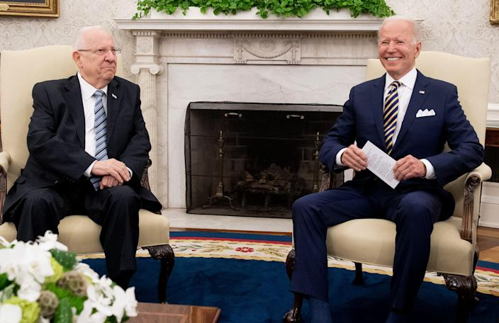 US President Joe Biden meeting with Israeli President Reuven Rivlin (L) in the Oval Office of the White House in Washington, DC, June 28, 2021 (AFP via Getty Images)