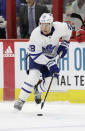 FILE - In this Dec. 11, 2018, file photo, Toronto Maple Leafs' Connor Brown (28) skates against the Carolina Hurricanes during the first period of an NHL hockey game in Raleigh, N.C. The Toronto Maple Leafs acquired defenseman Cody Ceci, a 2020 third-round pick and minor leaguers Ben Harpur and Aaron Luchuk from the Ottawa Senators for defenseman Nikita Zaitsev, forward Connor Brown and minor leaguer Michael Carcone. The teams announced the trade early on Monday, July 1, 2019, roughly three and a half hours before the start of free agency. (AP Photo/Gerry Broome)