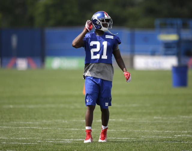 New York Giants' Dominique Rodgers-Cromartie gestures during a NFL football camp in East Rutherford, N.J., Wednesday, July 23, 2014. (AP Photo/Seth Wenig)