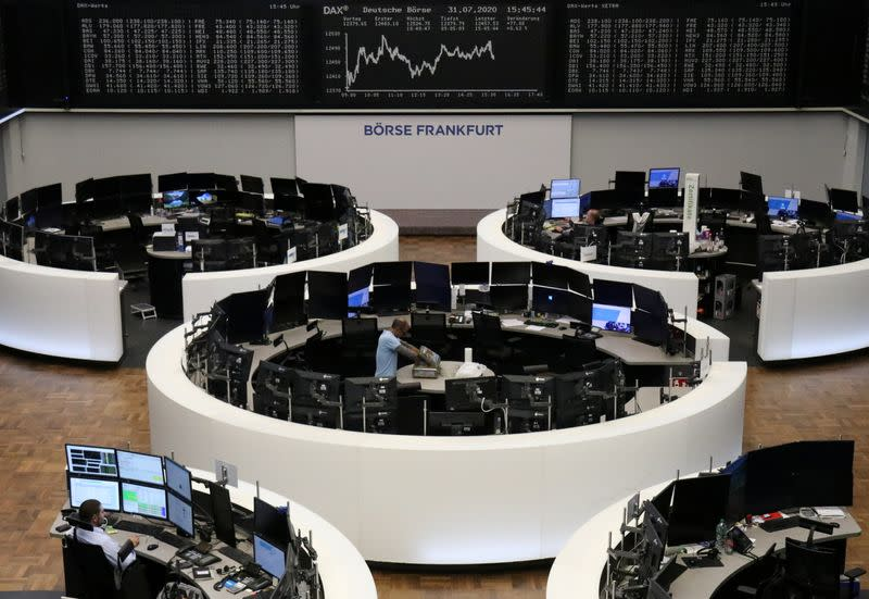 European shares end lower on dismal inflation data, gain for August