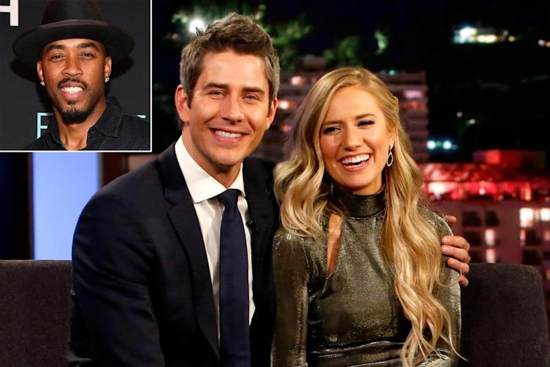 From left to right: Montell Jordan (inset), Arie Luyendyk Jr. and Lauren Burnham | Randy Holmes/Getty Images. Inset: Getty Images