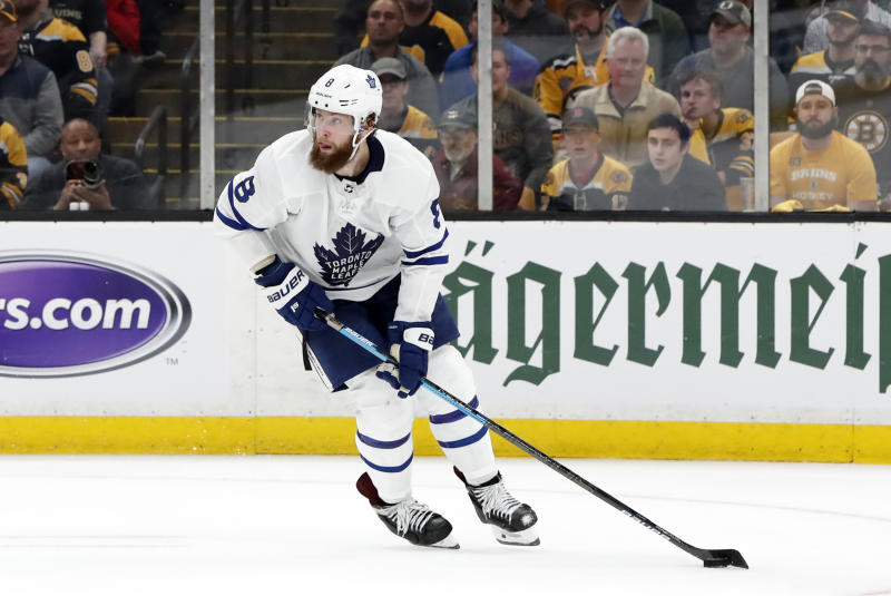BOSTON, MA - APRIL 23: Toronto Maple Leafs defenseman Jake Muzzin (8) looks up ice during Game 7 of the 2019 First Round Stanley Cup Playoffs between the Boston Bruins and the Toronto Maple Leafs on April 23, 2019, at TD Garden in Boston, Massachusetts. (Photo by Fred Kfoury III/Icon Sportswire via Getty Images)