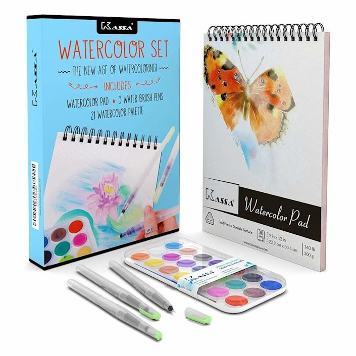 """<strong>Amazon Rating</strong>: 4.5 stars<br /><br /><a href=""""https://www.amazon.com/s/ref=nb_sb_ss_c_1_10?url=search-alias%3Darts-crafts&field-keywords=adult+coloring+books&sprefix=adult+colo%2Carts-crafts%2C139&crid=1T2UYWFS5C034"""" target=""""_blank"""" rel=""""noopener noreferrer"""">Adult coloring books</a> were all the rage just a few years ago, and for good reason. They were proven to lower stress and anxiety in adults, while promoting creativity and boosting moods. While adult coloring books are still a smart and unique way to change your anxious energy, <a href=""""https://www.amazon.com/Kassa-Watercolor-Set-Watercolors-Watercoloring/dp/B073SCSQ8M/"""" target=""""_blank"""" rel=""""noopener noreferrer"""">watercolors</a> could be another creative outlet for your anxious energy. Get <a href=""""https://www.amazon.com/Kassa-Watercolor-Set-Watercolors-Watercoloring/dp/B073SCSQ8M/"""" target=""""_blank"""" rel=""""noopener noreferrer"""">this beginner set of paints, pens and pad from Kassa here</a>."""