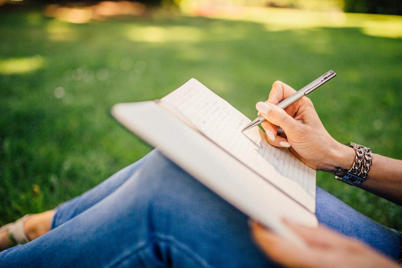 """<p>Remember when you kept a diary and it felt so cathartic to get those feelings out on the page? <a href=""""https://www.popsugar.com/fitness/how-keep-stress-free-journal-46674304"""" class=""""ga-track"""" data-ga-category=""""Related"""" data-ga-label=""""http://www.popsugar.com/fitness/how-keep-stress-free-journal-46674304"""" data-ga-action=""""In-Line Links"""">It's still a valuable technique</a> for when things are starting to get to you, and it's useful for both the positive and the negative emotions you might feel. <a href=""""https://www.popsugar.com/fitness/Journaling-Stress-Relief-44729054"""" class=""""ga-track"""" data-ga-category=""""Related"""" data-ga-label=""""http://www.popsugar.com/fitness/Journaling-Stress-Relief-44729054"""" data-ga-action=""""In-Line Links"""">Writing out your frustrations</a> can help to work through them, while writing about the things that bring you joy can help to counteract negativity.</p>"""