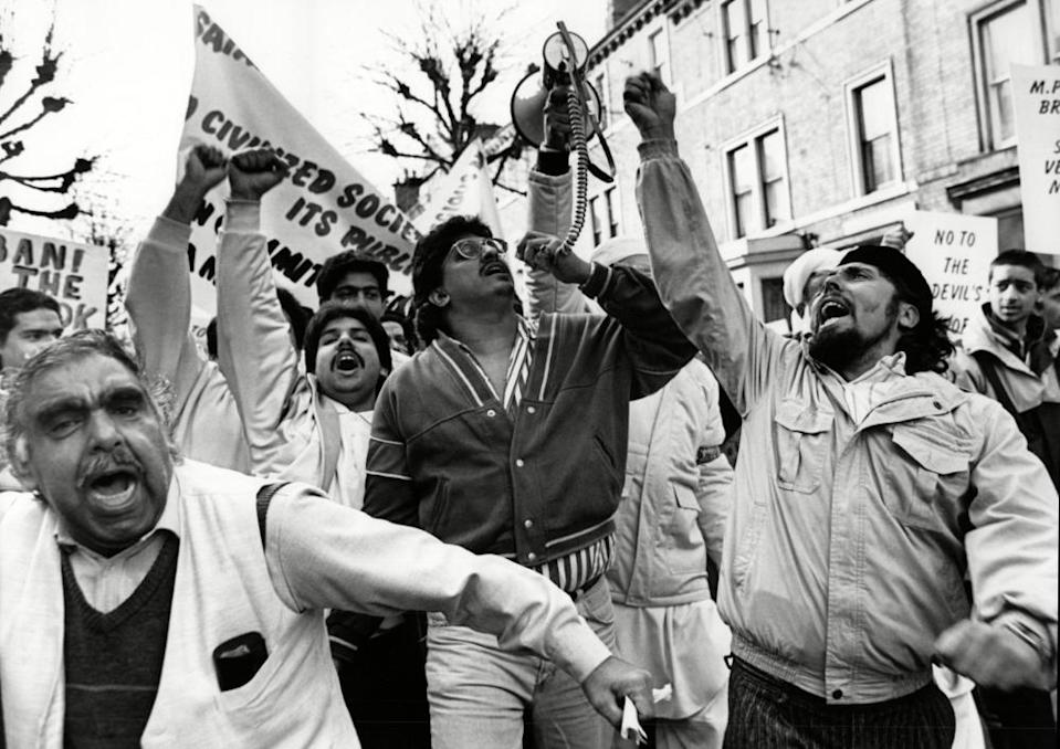 Protesters take to the streets in Derby in 1989, following  publication of Salman Rushdie's. The Satanic Verses. In Hartington Street, Derby, 15 March 1989.