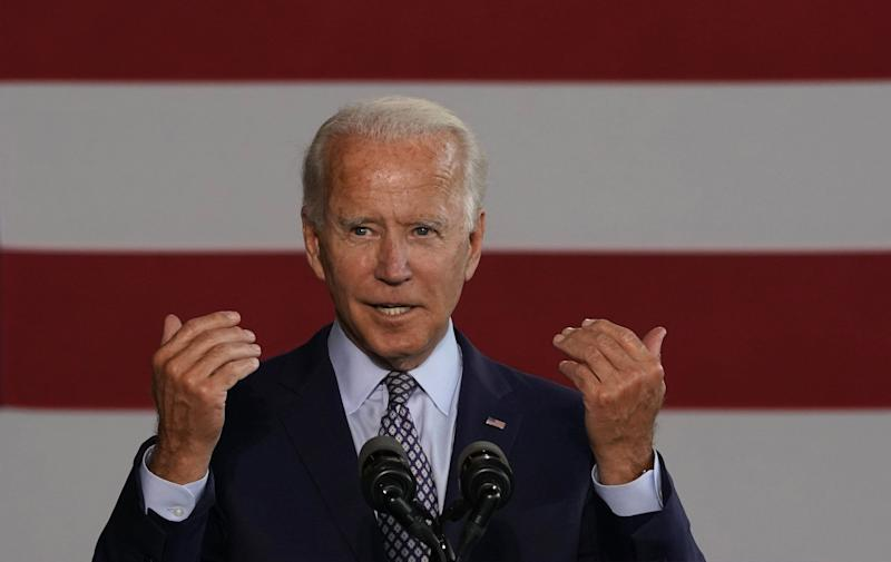Democratic nominee for president Joe Biden gives a speech to workers after touring McGregor Industries in Dunmore, Pennsylvania, on July 9. (TIMOTHY A. CLARY via Getty Images)