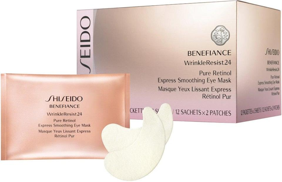 """<h2>Shiseido Benefiance WrinkleResist24 Pure Retinol Eye Masks</h2><br>This fast-acting, dual-purpose treatment is actually one of the few under-eye masks to contain retinol, so it delivers a boost of moisture, leaves skin looking refreshed and revived, and helps prevent new wrinkles from forming, too.<br><br><strong>Shiseido</strong> Shiseido Benefiance WrinkleResist24 Pure Retinol Express Smoothing Eye Mask, $, available at <a href=""""https://go.skimresources.com/?id=30283X879131&url=https%3A%2F%2Fwww.ulta.com%2Fbenefiance-wrinkleresist24-pure-retinol-express-smoothing-eye-mask%3FproductId%3DxlsImpprod14351111"""" rel=""""nofollow noopener"""" target=""""_blank"""" data-ylk=""""slk:Ulta Beauty"""" class=""""link rapid-noclick-resp"""">Ulta Beauty</a>"""