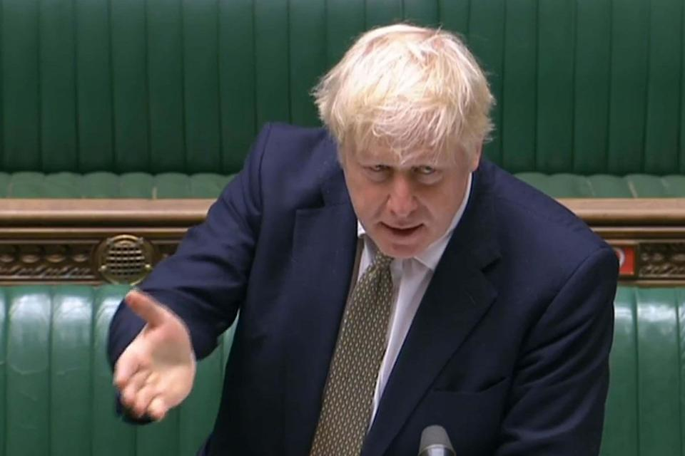 Mr Johnson speaking in the Commons (PRU/AFP via Getty Images)