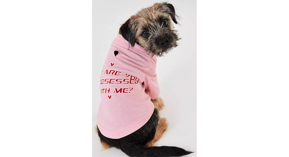 Pink Obsessed Slogan Dog T-shirt