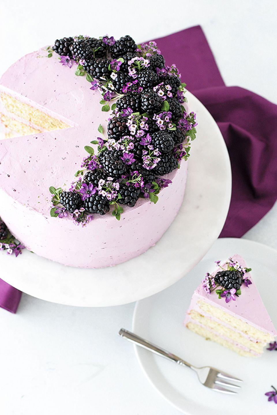 """<p>Warning: Mom might subject you to a photoshoot before she bites into this beauty (we promise, it's worth it!). The cake is vanilla while the icing is made of a blackberry reduction. </p><p><em><a href=""""http://thecakeblog.com/2017/03/blackberry-lime-cake.html"""" rel=""""nofollow noopener"""" target=""""_blank"""" data-ylk=""""slk:Get the recipe from The Cake Blog »"""" class=""""link rapid-noclick-resp"""">Get the recipe from The Cake Blog »</a></em></p>"""