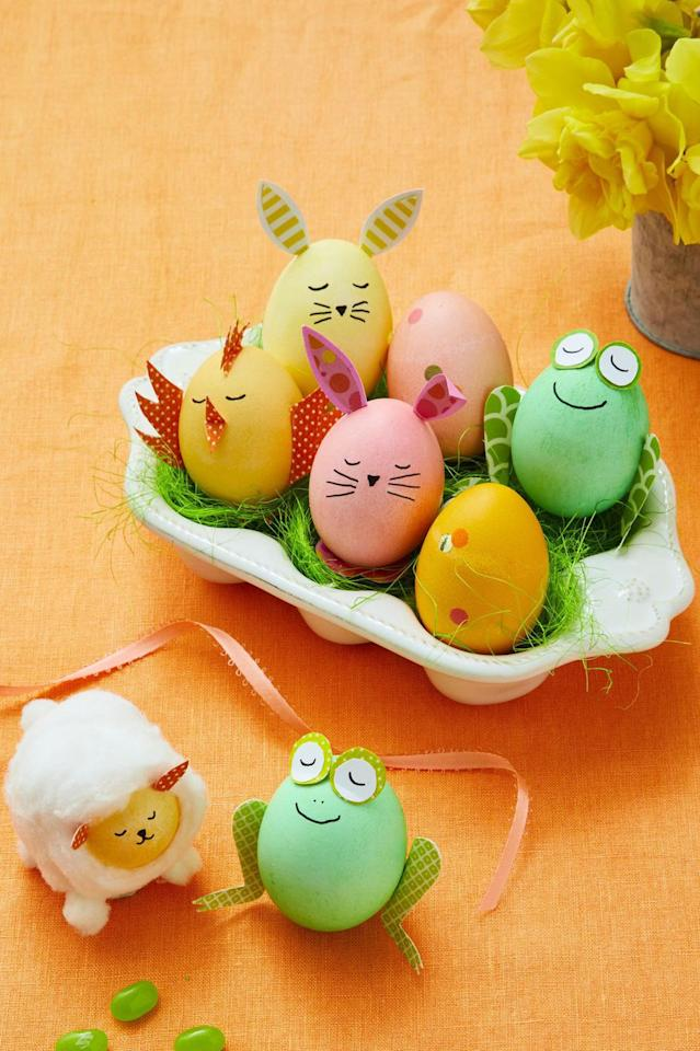 """<p>In need of an Easter brunch centerpiece? Grab the kids and have them help you make this adorable ensemble.</p><p><strong><a rel=""""nofollow"""" href=""""https://www.womansday.com/home/crafts-projects/g2216/easter-eggs/?slide=1"""">Get the tutorial. </a></strong></p><p><strong><a rel=""""nofollow"""" href=""""https://www.womansday.com/home/crafts-projects/a18837631/easter-egg-templates/""""><strong>Get the templates here.</strong></a><br></strong></p><p><strong>What you'll need</strong>: Sharpie permanent marker ($8 for a pack of 12, <a rel=""""nofollow"""" href=""""https://www.amazon.com/Sharpie-37001-Permanent-Markers-Ultra/dp/B00006IFI3/?tag=womansday_auto-append-20&ascsubtag=[artid 10070.g.2216[src [ch [lt """">amazon.com</a>)</p>"""