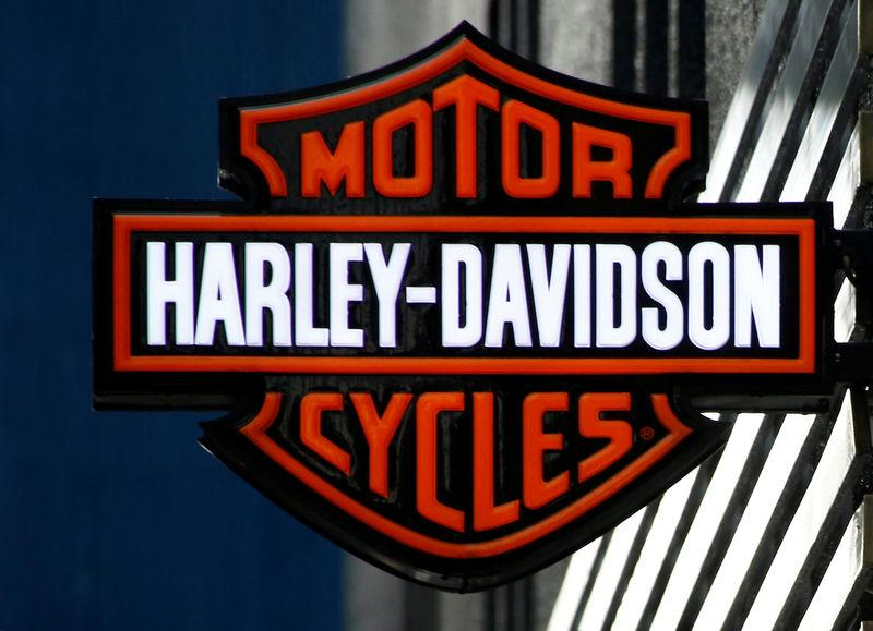 FILE PHOTO: American motorcycle manufacturer Harley-Davidson's signboard is pictured at its branch in Tokyo