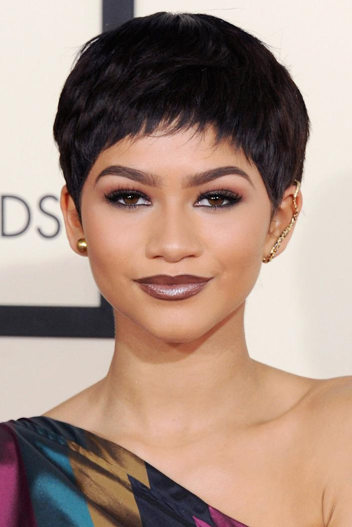 """<h3>Zendaya, 2015</h3><br>Zendaya never ceases to amaze us with how different each red carpet look is from the last. This jet-black pixie might be simple, but it sits at the top of our list.<span class=""""copyright"""">Photo: Jon Kopaloff/FilmMagic.</span>"""