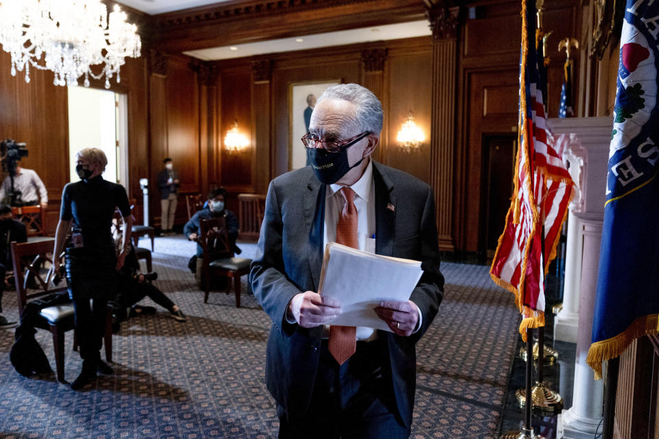 Senate Majority Leader Chuck Schumer of N.Y., leaves a news conference after the Senate passes a COVID-19 Hate Crimes Act on Capitol Hill, Thursday, April 22, 2021, in Washington. (AP Photo/Andrew Harnik)
