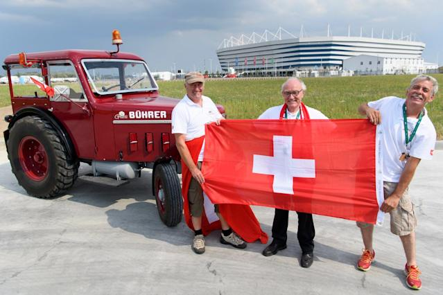 Switzerland fans travel 1,240 miles on TRACTOR to watch World Cup match against Serbia